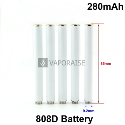 White Color 280mAh 808D Auto Batteries With Red LED Light and Bottom Diamond